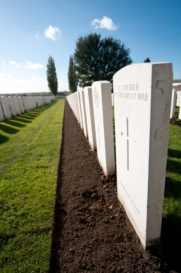 A row of commonwealth war graves